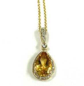 """EFFY Collection 14k Gold 1/8ct Diamond with 5 3/4ct Citrine Pendant Necklace 18"""""""