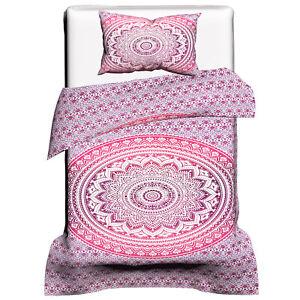 Mandala Pink Ombre Cotton Doona Set Indian Twin Duvet Cover Bedding Bedspread