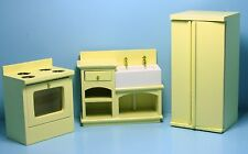Dollhouse Miniature Kitchen Set Refrigerator, Stove and Farm Sink ~ T0142-2
