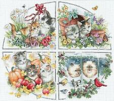 Four Seasons Kittens Cats Counted Cross Stitch Kit Dimensions Gold Collection
