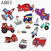 15pcs Mix Vehicle Patches Embroidered Cartoon Airplane Train Car Truck Boats