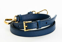 New Prada Removable Adjustable Leather Bag Shoulder Strap Blue / Gold Hardware