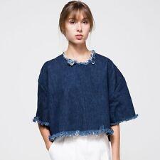 Retro Fashion Women Loose Fifth Sleeve Blue Jean Denim Blouse Short  Shirt Tops