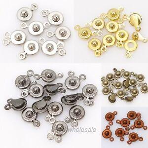 30 Set Snap Fastener Clasp Hooks Connectors For Bracelet Necklace Making 15x8mm
