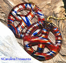 CEILING FAN PULL MURANO GLASS RED BLUE SILVER PEACE SYMBOL STRIPED LARGE PAIR