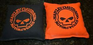 8 Embroidered Cornhole Bags Harley Davidson Skull ! Corn or Pellets! Nice!