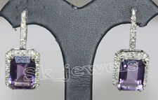 1.75ct NATURAL DIAMOND AMETHYST 14K SOLID  WHITE GOLD ANNIVERSARY HOOPS EARRING