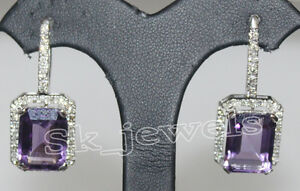 1.75ct Natural Round Diamond 14K Solid White Gold Amethyst Wedding Hoop Earring