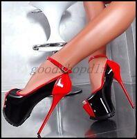 Sexy Ladies Peep Toe Sandals Platform 15CM Stiletto Heels Ankle Strap Shoes SIZE