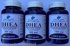 Lot of 3 DHEA 200mg 600 Capsules Pharmaceutical Grade Gluten Free Exp 2021