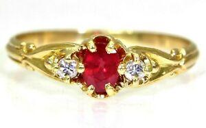 Victorian Ruby & Diamond 18ct Yellow Gold Ring N ~ 6 3/4