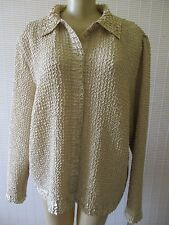 RAFAEL ESSENTIAL LIGHT BROWN LONG SLEEVE CRINKLE BLOUSE SIZE L - NWT