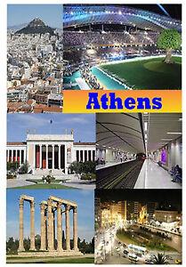 Atenas - Grecia - Recuerdo Novedad Nevera Imán - Monumentos/ Bandera/ Nuevo /