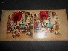 1850 Beautiful Hand Colored Stereoview Children Playing