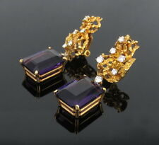 Vintage 30.0ct Amethyst & 1.10ct Diamond 18K Yellow Gold Hand Made Earrings