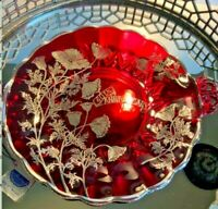 40 Anniversary Plate Handled Crystal Plate Ruby Red Sterling Silver #H051