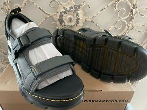 DR. MARTENS Men's US 10 (UK 9) Gunmetal Polyester Split Leather Forster Sandal