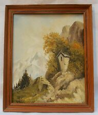 Alpine  Chapel in the Mountains  Original Oil Painting on Board signed PST 57.