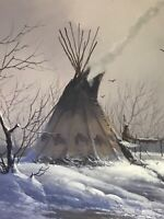 LARGE ORIGINAL JERRY YARNELL ACRYLIC ON CANVAS WINTER INDIAN SCENE SIGNED