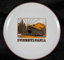 Pennsylvania Covered Bridge Plate Volant Penna Gold Trim 8 Inch