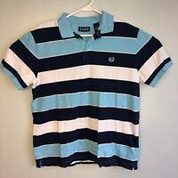 Chaps Mens Large Blue Stripe Short Sleeve Polo Shirt