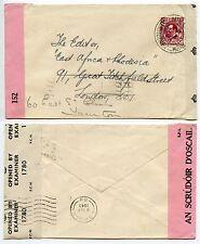 Irlanda 1943 doppio CENSURATO in Africa Orientale + RHODESIA Gazette 2 1/2 D ww2