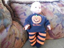 "Handmade Bitty Baby Girl Halloween Sparkle Pumpkin""/Striped Pants/ Socks D267"