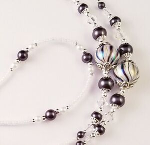 Handmade Beaded Lanyard~Black & White Swirl~Crystal