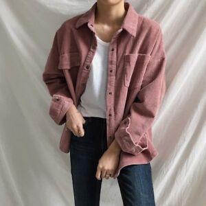 Hot Womens Girls Corduroy Casual Jacket Shirt Coat Vintage Loose Beige Tops UK