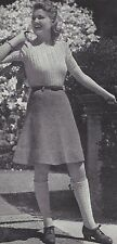 Vintage Knitting PATTERN to make 40s Cable Pullover Sweater Shirt Knee Socks
