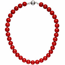 Damen Halskette Kette Muschelkern Perlen rot 45 cm Perlenkette