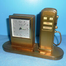 RARE VTG GERMAN GAS PUMP SPARK FLINT STRIKER LIGHTER DESK CALENDAR ALARM CLOCK