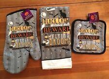 Halloween Black Cat, Hats & Brooms Kitchen Towels, Oven Mitts, Pot Holders Set