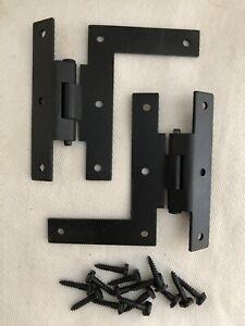 """2 Vintage Stanley HL Hinge 3"""" Colonial Flat Black 3/8"""" Offset Doors EV"""