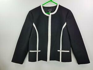 Black Label by Evan-Picone women long sleeve black/white open blazer sz. 16
