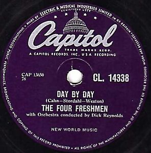 "RARE FOUR FRESHMEN 78 "" DAY BY DAY / HOW CAN I TELL HER "" UK CAPITOL CL14338 E-"