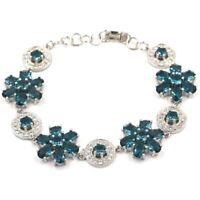 """36x18mm Big Heavy 24g Dark London Blue Topaz CZ Party Silver Bracelet 7.0-7.5"""""""
