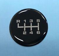 Gear Knob Shift Pattern Sticker 6 Speed - CHROME & BLACK - GLOSS DOMED GEL