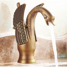 Antique Brass Swan Shape Bathroom Basin Faucet Washroom Vanity Tap Water Mixer