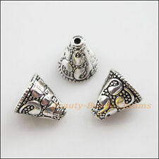 10Pcs Tibetan Silver Tone Flower Cone End Bead Caps Craft DIY 12x13mm