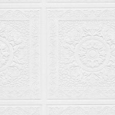 Large Square with Medallion Raised Texture White Paintable Wallpaper    48931