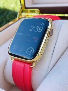 Custom 24K Gold Plated 44MM Apple Watch SERIES 6 RED OYSTERFLEX Deployment ROLEX