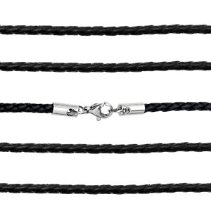 Black Leather Braided Weave Necklace 55cm with Sterling Silver Lobster Clasp