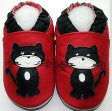 Minishoezoo black cat red 3-4y non slip soft sole baby leather shoes indoor
