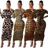 NEW Stylish Women's Long Sleeves O Neck Lepoard Print Bodycon Long Dress Club