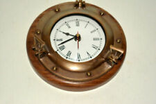 Antique vintage nautical brass wooden base collectible porthole wall clock
