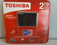 Toshiba Canvio Connect II Portable 2TB HDD + 32GB microSDHC Card with Adapter