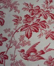 Antique French Floral Roses Bird & Butterfly Red Toile Cotton Fabric #2 ~