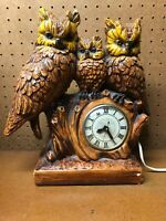 Vintage 3 Three Owl Family Lanshire Clock with Second Hand RARE WORKS!