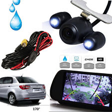 "7"" MP5 Bluetooth Car Rearview Mirror Monitor+ 2 LEDs Night Vision Backup Camera"